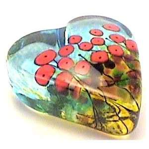 Unique Valentines Day Gifts, Paperweight Heart in Hand Blown Art Glass