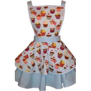 Bettie Page Apron   Cupcake Cutie Blue