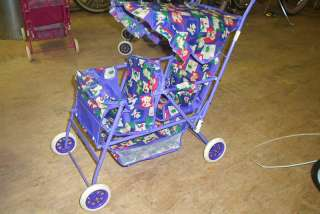 NEW DOLL STROLLER DOUBLE 4 KIDS GIRL PURPLE