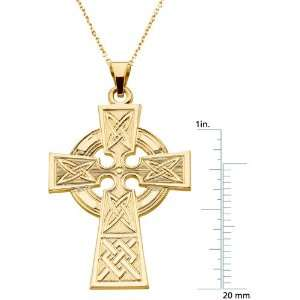 14 Karat Yellow Gold Celtic Cross Pendant Diamond Designs Jewelry