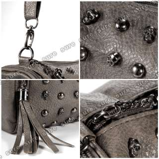 Punk Skull Stud Lady Women shoulder Bag handbag Leather Tote Hobo