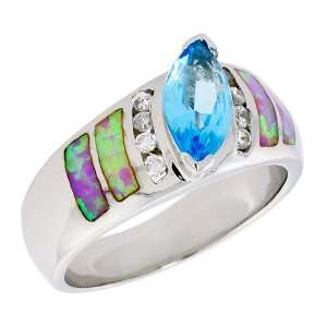 Sterling Silver, Synthetic Pink Opal Ring, w/ Marquise