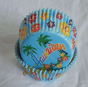 50 Hawaiian Beach blue cupcake liner baking paper cup muffin cases