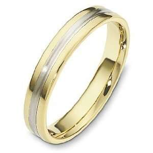 4mm Plain 14 Karat Two Tone Gold Wedding Band Ring   7.75 Jewelry