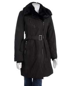 Anne Klein Womens Faux Fur Collar Overcoat
