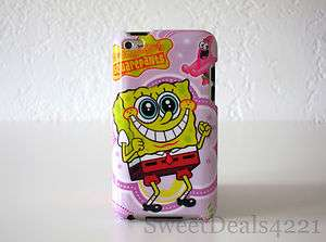 Apple iPod Touch 4th Gen SpongeBob Squarepants Hard Case Pink Cute 8