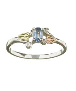 Black Hills Gold Silver March Birthstone Ring