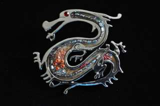Spectacular Ruby rhinestone eyed Dragon Costume Brooch