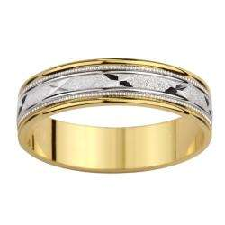Two tone Gold Mens Milligrain X Design Wedding Band
