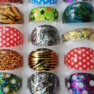 Wholesale jewelry mixed lots 50pcs children Leopard resin rings free