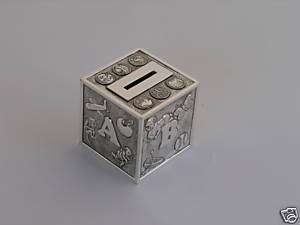 Alphabet Money/coin Bank Silver Baby gift, Boxed