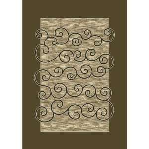 Innovation Carved Golden Tobacco Antique Contemporary Rug