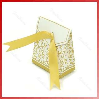 50pcs Gold Ribbon Gift Bags Wedding Favor Candy Boxes