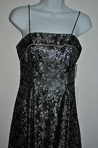 Beautiful Womens Bari Jay Gown Formal Black and Silver Prom Dress Size