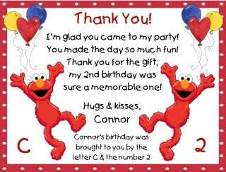 Personalized Elmo Thank You Cards