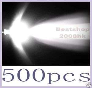 500 Pcs 5mm round white LED superbright Lamp light Bulb