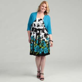 Jessica Howard Womens Plus Size Teal Sundress