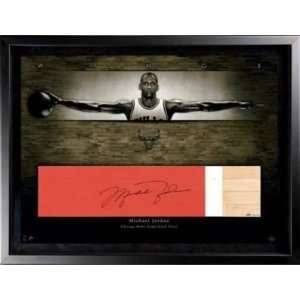 Michael Jordan Signed Bulls Game Used Floor Le/23 Uda
