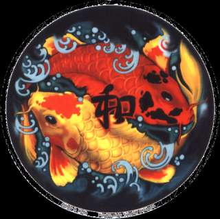 FISH red & yellow koi, yin yang style STICKER