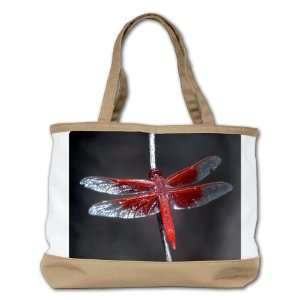 Shoulder Bag Purse (2 Sided) Tan Red Flame Dragonfly