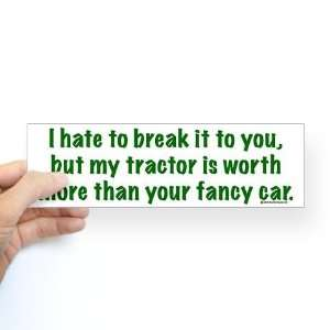My tractor green text Horse Bumper Sticker by