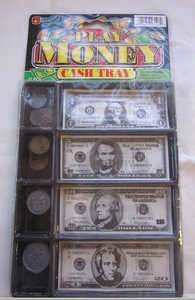 Play Money Cash Tray 20 Coins and 20 Bills Kids Pretend Toy