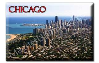 Skyline Downtown CHICAGO   IL Souvenir Fridge Magnet #6