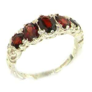 High Quality Solid White Gold Natural Garnet English Victorian Ring