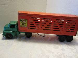 Vintage Structo Cattle Farms Truck Trailer Pressed Steel Nice