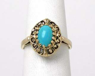 STUNNING ANTIQUE 14K YELLOW GOLD, TURQUOISE ORNATE RING