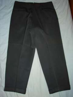 50s Dark Gray GABARDINE WOOL PLEATED PANTS Sz 37 x 29    Made in USA