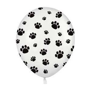12 White Balloons with Black Paw Prints   Woof