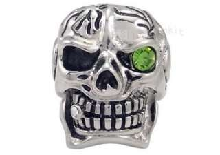 Mens Silver Cigar Green Eye CZ Skull Biker Stainless Steel Ring ZR023