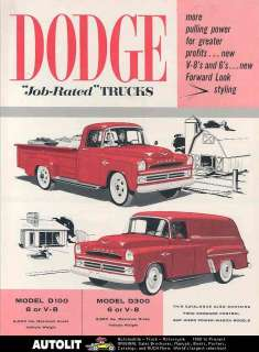 1957 Dodge B D Truck Brochure Canada Power Wagon Pickup