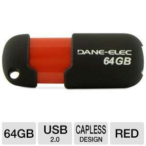 DANE ELECTRONICS Dane 64 GB USB Flash Drives, Black/Red (DA Z64GCAN6 R