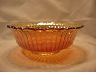 Carnival Glass Bowl Marigold Gold Iridescent Ribbed Rib