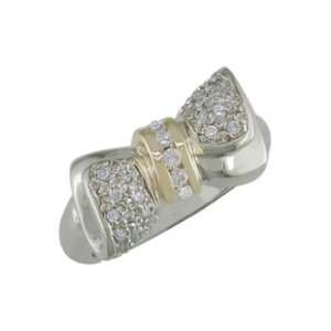 size 13.00 14K Gold Two Tone Bead Setting Diamond Ring Jewelry