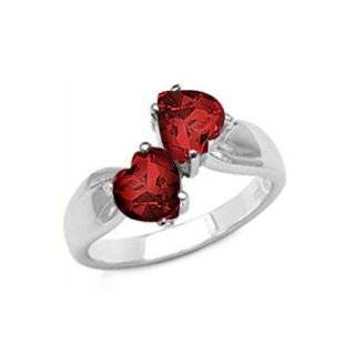 Jewelry Garnet Color Heart CZ Sterling Silver Love Links Ring Jewelry