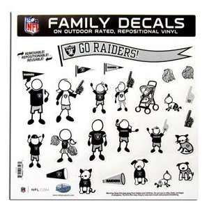 Oakland Raiders 11in x 11in Family Car Decal Sheet