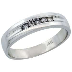 10k White Gold Mens Diamond Ring Band w/ 0.14 Carat Brilliant Cut
