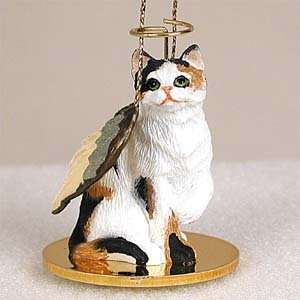 Calico Cat Ornament Tiny Angel Calico Cat Figurine