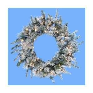 Flocked Artificial Christmas Wreath   Clear Lights