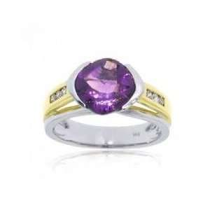 14KT Two Tone White Yellow Gold Amethyst Diamond Ring