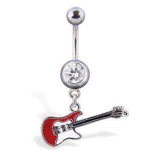 14g Dangling Red and White Guitar Sexy Belly Button Navel Ring Dangle