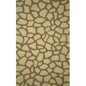 Indoor/Outdoor Hand Tufted Area Rug Giraffe Tile 8 Round Lime Carpet