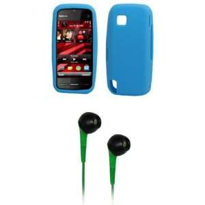 EMPIRE Light Blue Silicone Skin Cover Case + Green 3.5mm