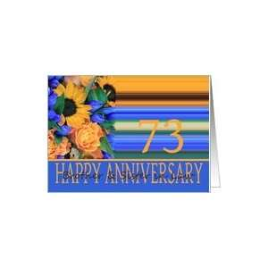 73rd Anniversary for Brother & Sister in Law, Sunflower Bouquet Card