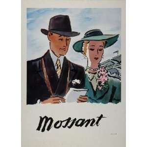 1948 French Color Ad Mossant Mens Hats Man Woman NICE