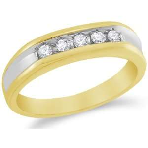 Size 7   10K Yellow and White Two Tone Gold Diamond MENS Wedding Band