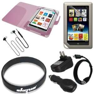 Premium Pink Leather Cover + lcd Screen Protector + USB